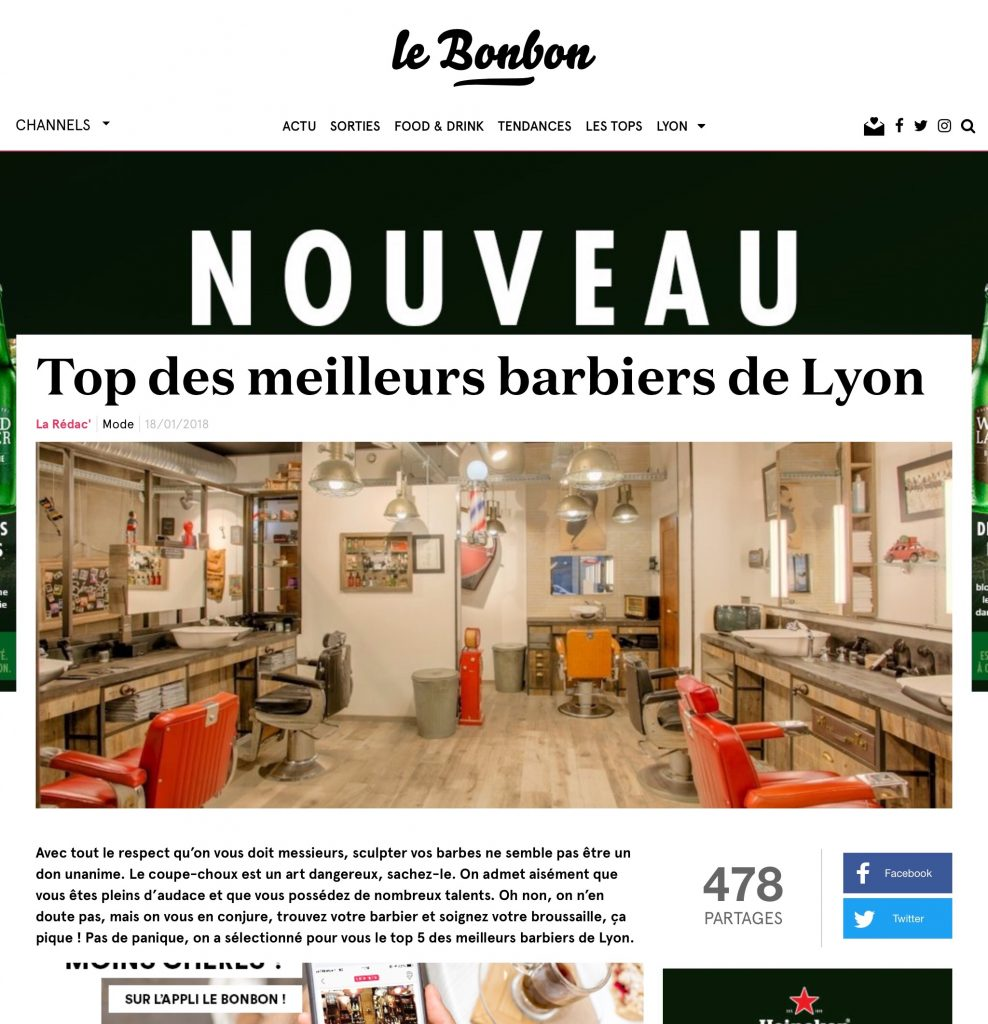 Top 5 barbiers Lyon Le Bonbon 1